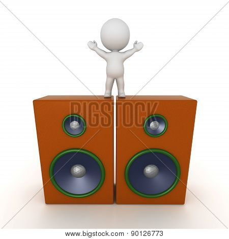 3D Character Standing on Two Large Speakers