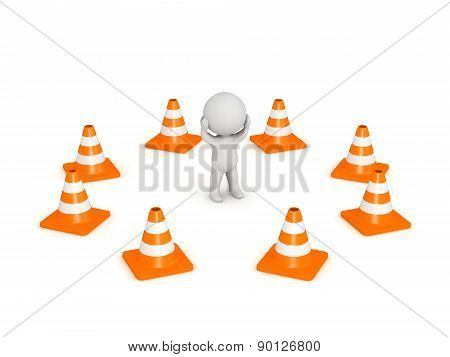 3D Character Stressed Surrounded by Orange Road Cones