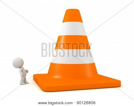 3D Character Looking Up at Huge Orange Road Cone