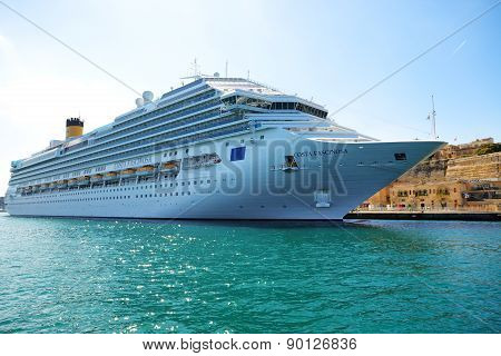 Valletta, Malta - April 22: The Costa Fascinosa Cruise Ship With Tourists Is In Harbour On April 22,