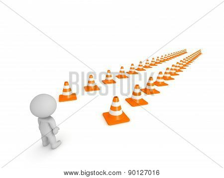 3D Character and Path marked by Orange Cones