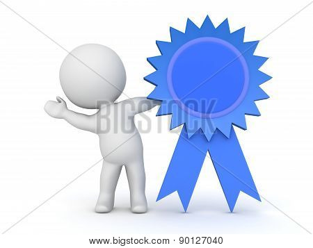 3D Character Waving from Behind Large Blue Ribbon