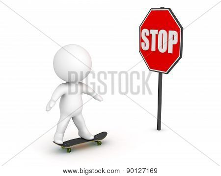 3D Character Skateboarding and Stop Sign