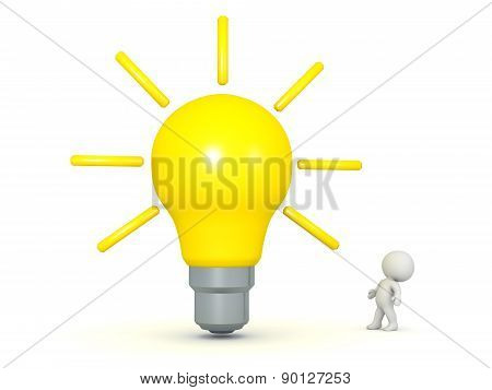 3D Character Looking Up at Very Large Light Bulb