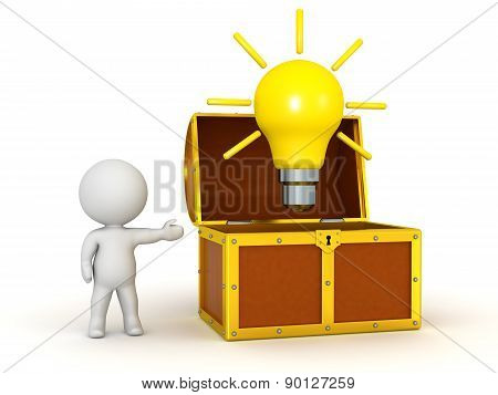 3D Character Showing Open Treasure Chest with Light Bulb