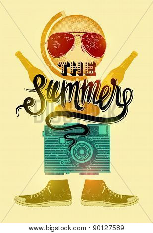 Summer time retro poster. Vector design with vintage things. Eps 10.