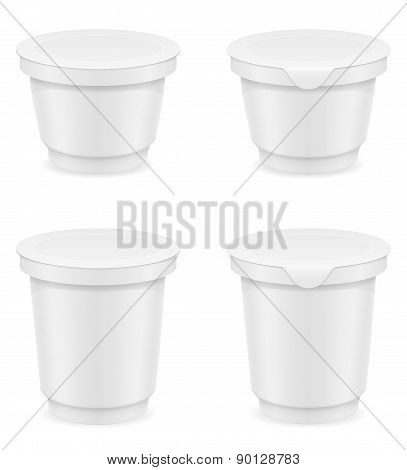 White Plastic Container Of Yogurt Or Ice Cream Vector Illustration