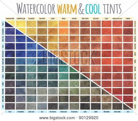 Watercolor warm and cool tints