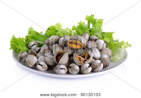 Boiled Cockles With Lettuce Isolated On White Background