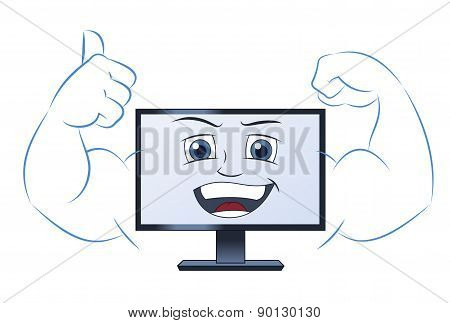 Smiling powerful computer