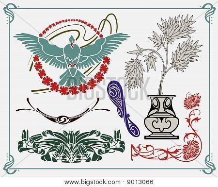 Schätze der historischen Design Jugendstil