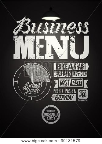 Restaurant menu typographic design on chalkboard. Vintage business lunch poster. Vector illustration