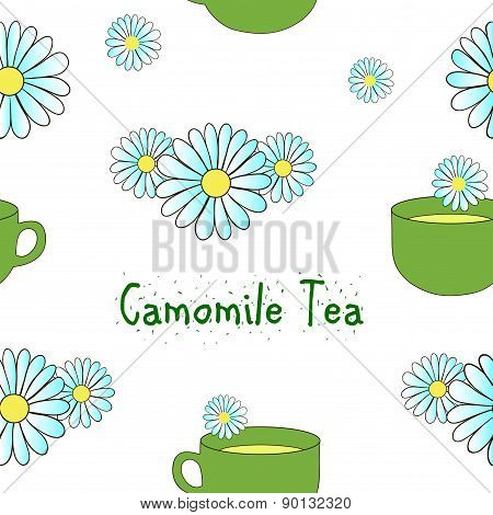 Seamless pattern camomile tea