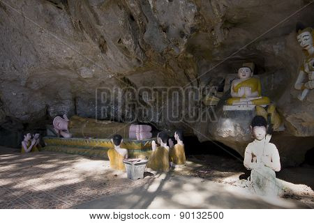 Buddhist temple in a cave, at Van Vieng, Lao People Democratic Republic