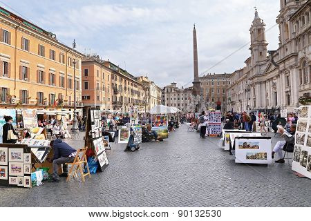 Rome, Italy - April 19, 2015: Piazza Navona On April 19, 2015. Piazza Navona Is One Of The Most Famo