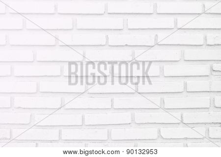 White Misty Brick Wall For Background Or Texture, Lighting  Left Side