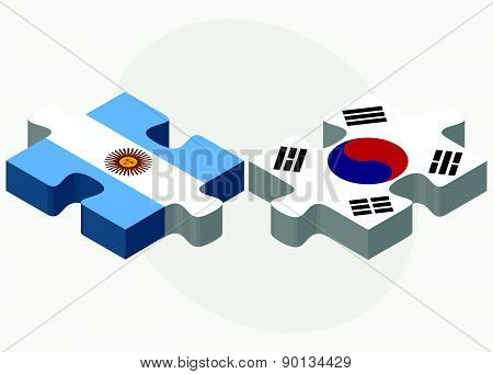 Argentina And South Korea Flags In Puzzle