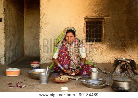 Simple Living In The Village On The Desert In Gujarat