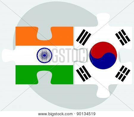 India And South Korea Flags In Puzzle