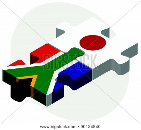 South Africa And Japan Flags In Puzzle