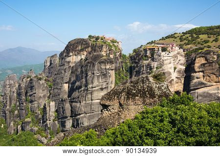 Varlaam And Great Meteoro Monasteries On The Cliff At Meteora Rocks, Greece