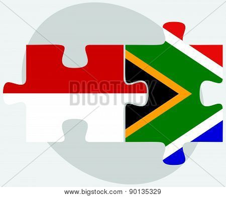 Indonesia And South Africa Flags In Puzzle