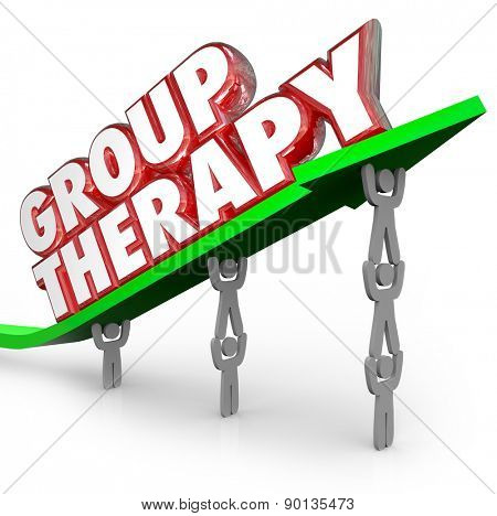 Group Therapy words in red 3d letters on a green arrow lifted by people or patients sharing feelings and discussing treatment and ways to get better