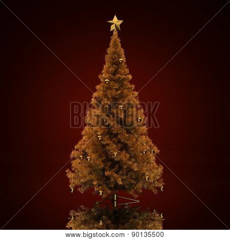 Decorated Christmas tree on a green background