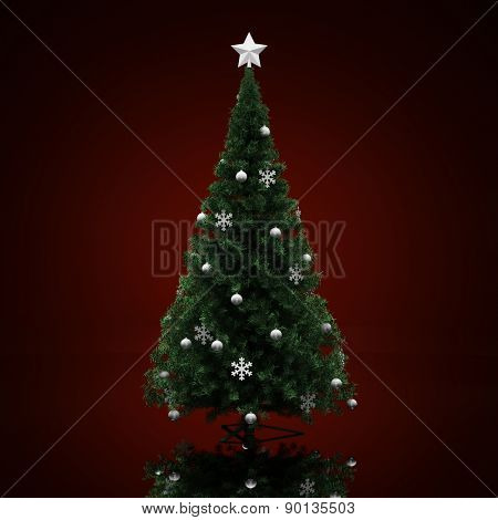 Decorated Christmas tree on a dark red  background
