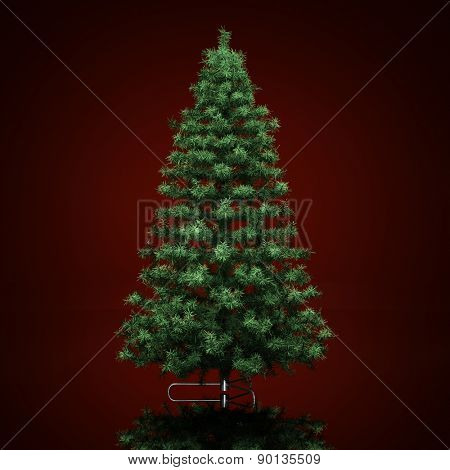 Christmas tree on a dark red  background