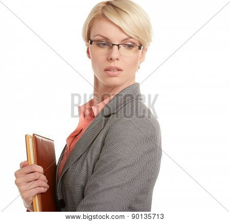 Closeup portrait of attractive young blonde businesswoman, smiling,