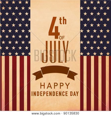 Vintage poster, banner or flyer design for 4th of July, American Independence Day celebration.
