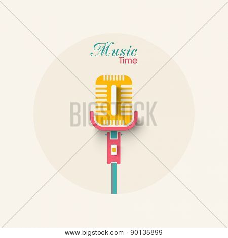 Creative colorful microphone with stylish text Music Time.