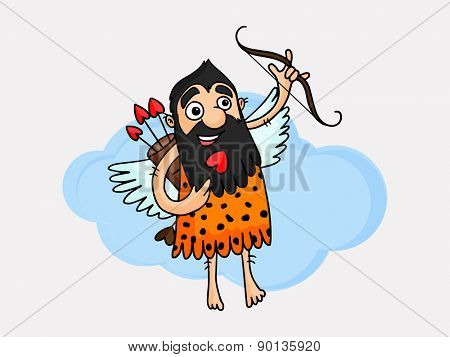 Cartoon of a caveman holding bow and heart shape arrow, Love Concept.