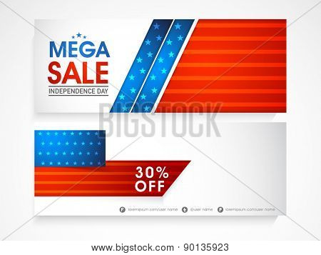 Shiny website header or banner set of Mega Sale with 30% discount offer on occasion of American Independence Day celebration.