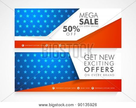 National flag colors Sale website header or banner set for American Independence Day celebration.