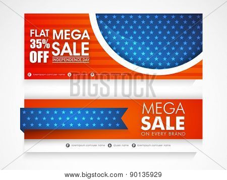 American national flag colors Mega Sale website header or banner set for Independence Day celebration.