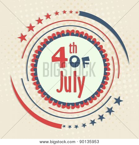 4th of July, American Independence Day celebration with stylish badge and national flag color design on vintage background.