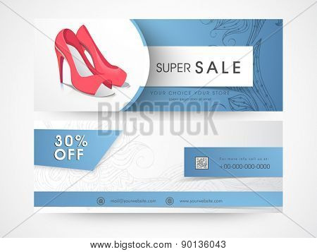 Sale and discount offer website header or banner set of woman's sandal.