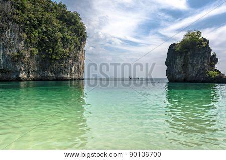 Andaman Sea Beach On Phiphi Island, Turistic Paraise In Thailand