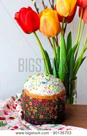 Easter Cake With Colorful Topping