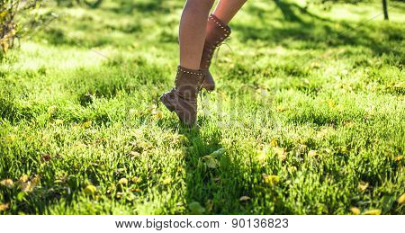 Feet On A Grass