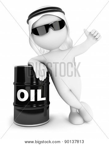 3d white people emir with a barrel of oil