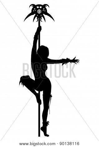Priestess Woman Striptease Silhouette