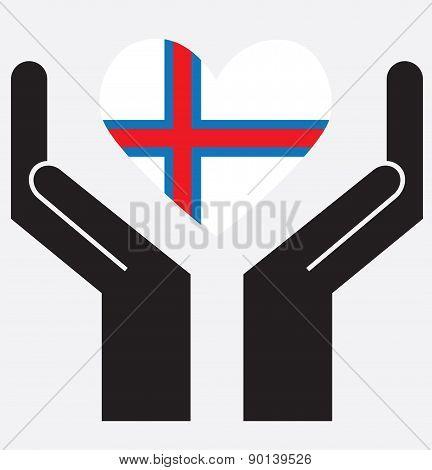 Hand showing Faroe islands flag in a heart shape. Vector illustration.