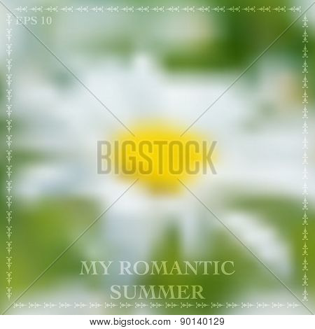 Vector Illustration Of Abstract Background For Design. Camomile Flower. Blurred Flower Background. B