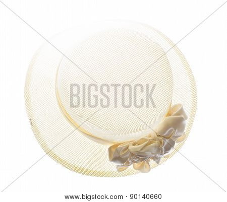 Vintage Woman Hat Or Woman Beach Hat  On White Background