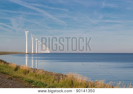 Long Row Off Shore Wind Turbines In The Dutch Sea
