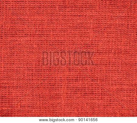 Cinnabar color burlap texture background