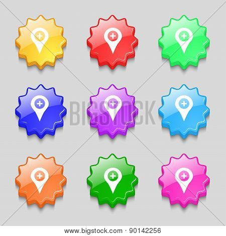 Plus Map Pointer, Gps Location Icon Sign. Symbol On Nine Wavy Colourful Buttons. Vector